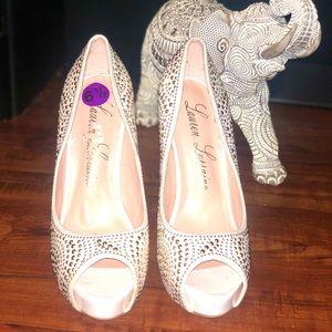 Beautiful gold & silver studded high heel shoe